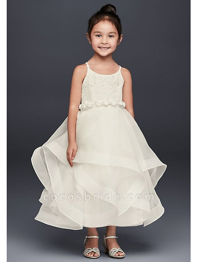 A-Line Ankle Length Wedding Flower Girl Dresses - Tulle Sleeveless Spaghetti Strap / Jewel Neck With Tier / Solid