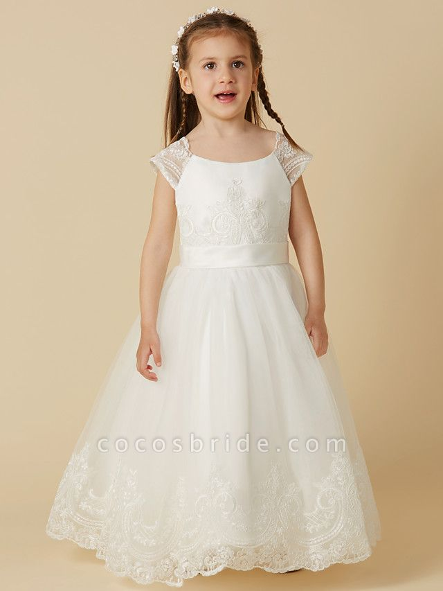 A-Line Floor Length Wedding / First Communion Flower Girl Dresses - Lace / Tulle Short Sleeve Scoop Neck With Sash / Ribbon / Buttons
