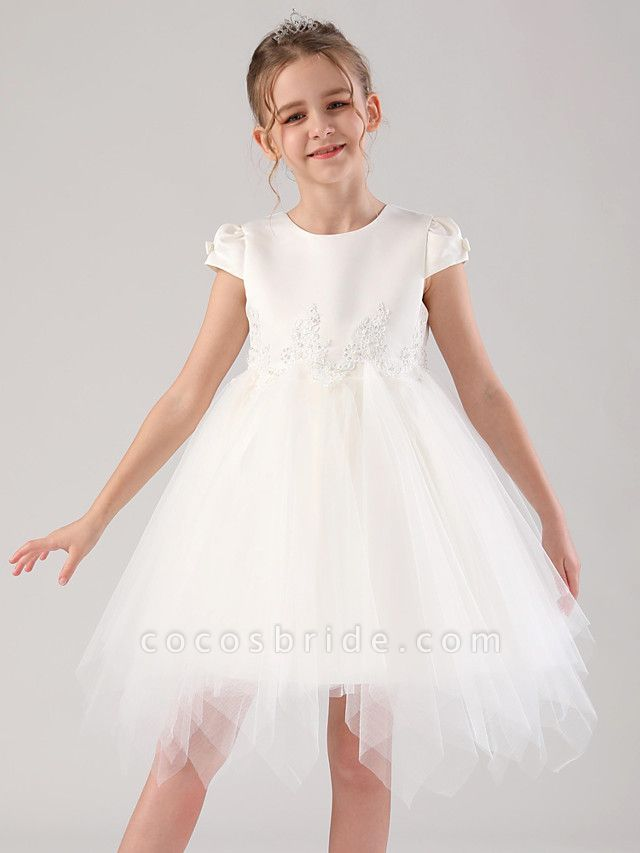 Princess / Ball Gown Royal Length Train / Medium Length Wedding / Event / Party Flower Girl Dresses - Satin / Tulle Cap Sleeve Jewel Neck With Beading / Appliques / Tiered
