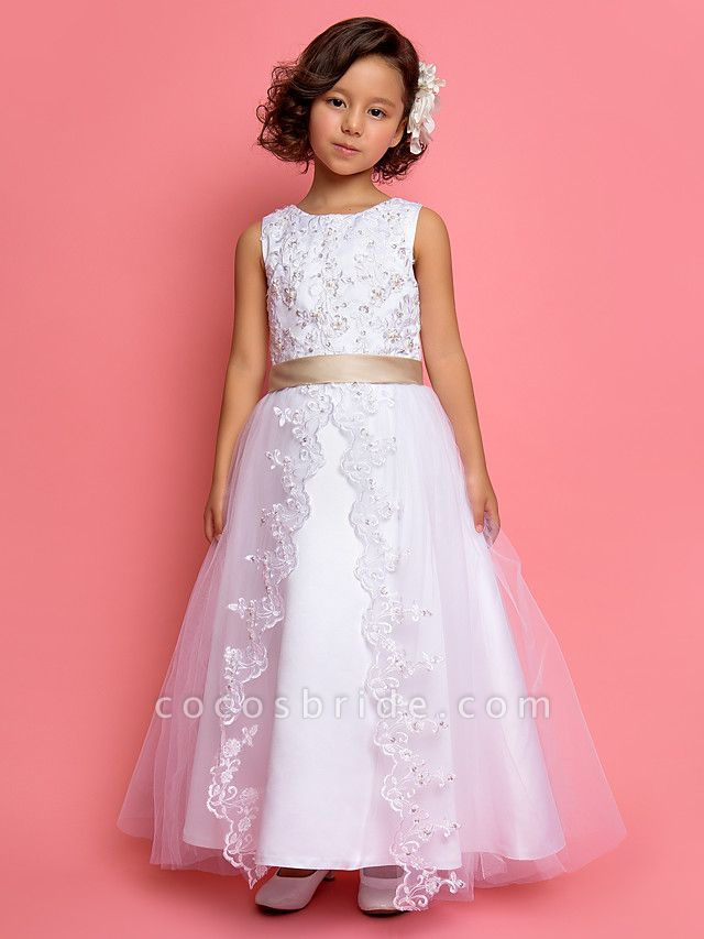 Princess / A-Line Ankle Length Wedding / First Communion Flower Girl Dresses - Satin / Tulle Sleeveless Jewel Neck With Lace / Pearls / Sequin