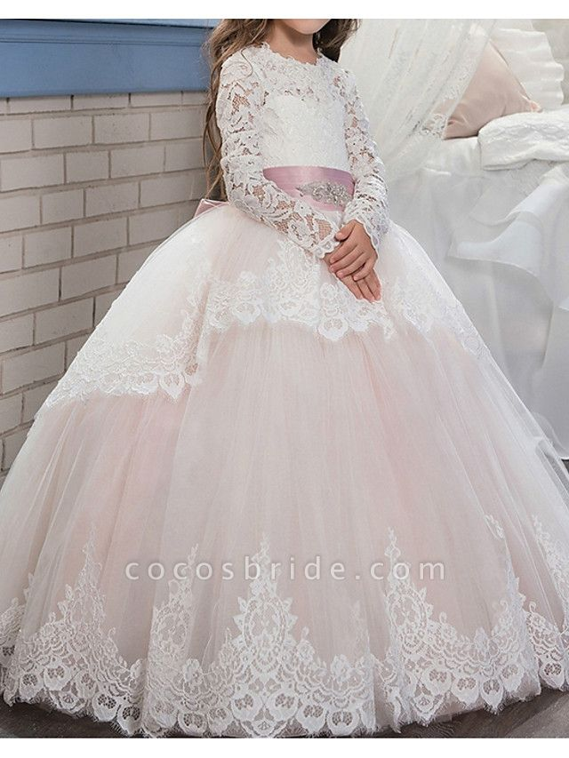 Ball Gown Floor Length Pageant Flower Girl Dresses - Polyester Long Sleeve Jewel Neck With Lace / Tier