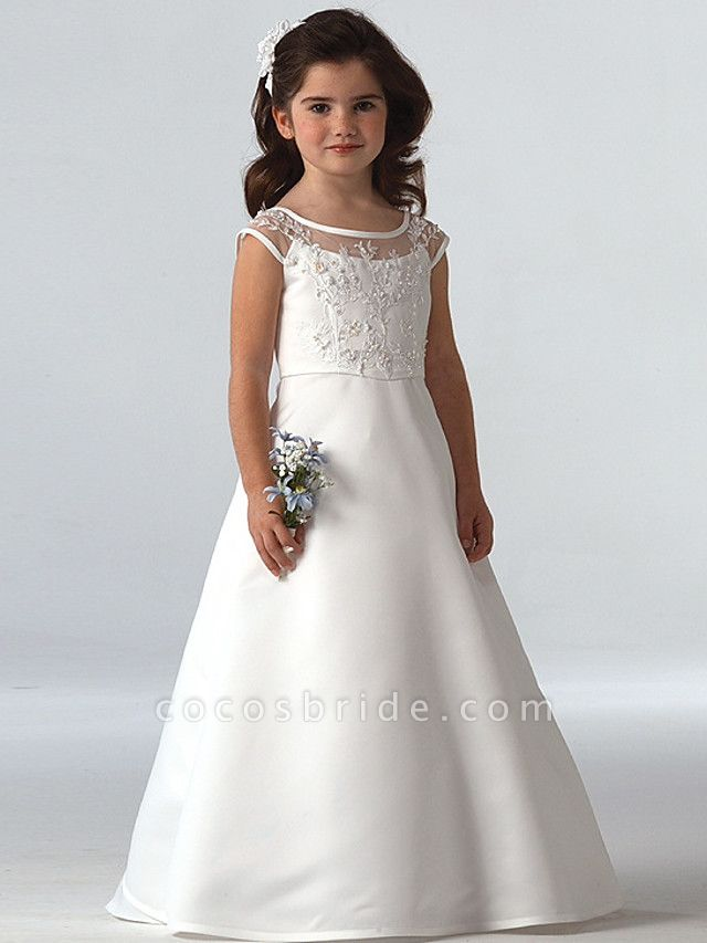 A-Line Floor Length Wedding / Party Flower Girl Dresses - Lace Sleeveless Jewel Neck With Beading