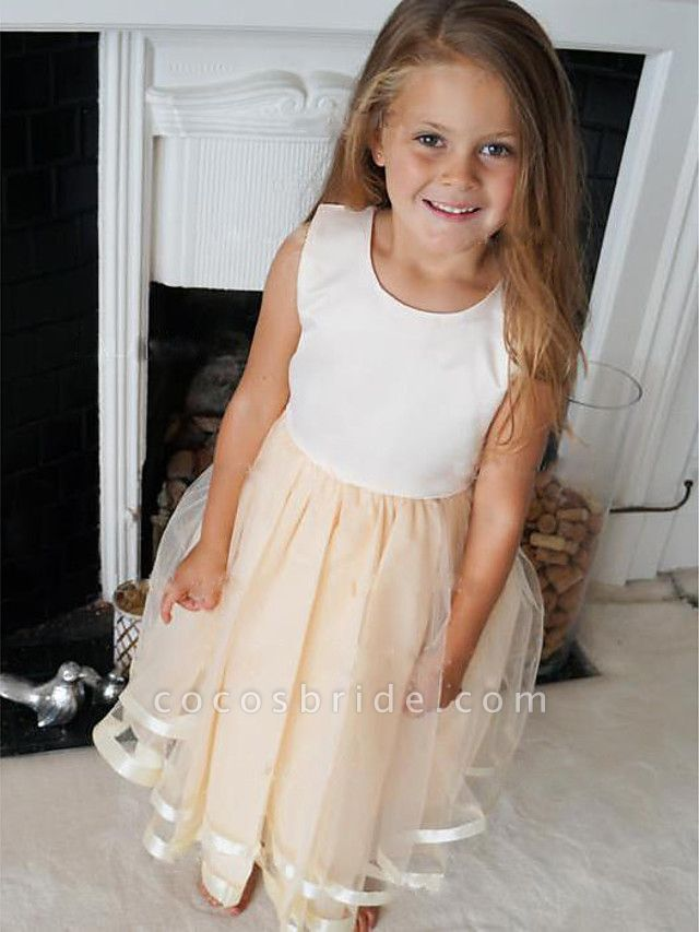 A-Line Knee Length Wedding / Party Flower Girl Dresses - Satin / Tulle Sleeveless Jewel Neck With Pleats