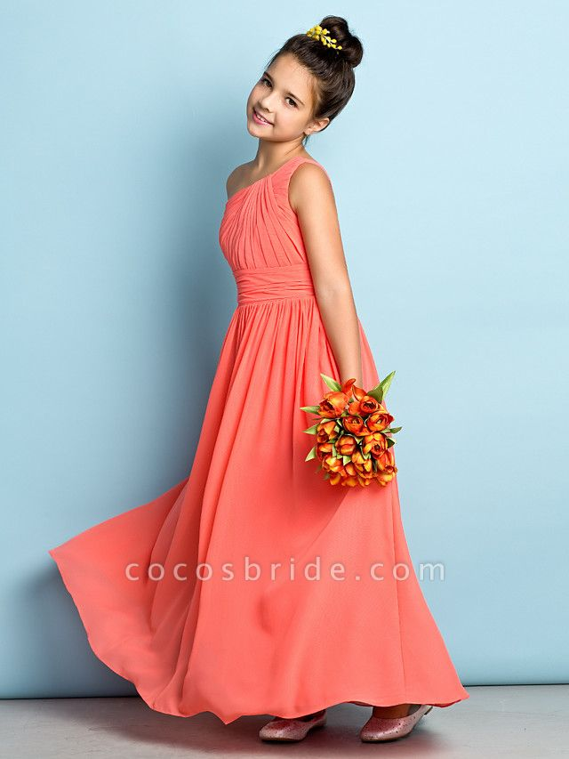 A-Line One Shoulder Ankle Length Chiffon Junior Bridesmaid Dress With Side Draping / Natural / Mini Me