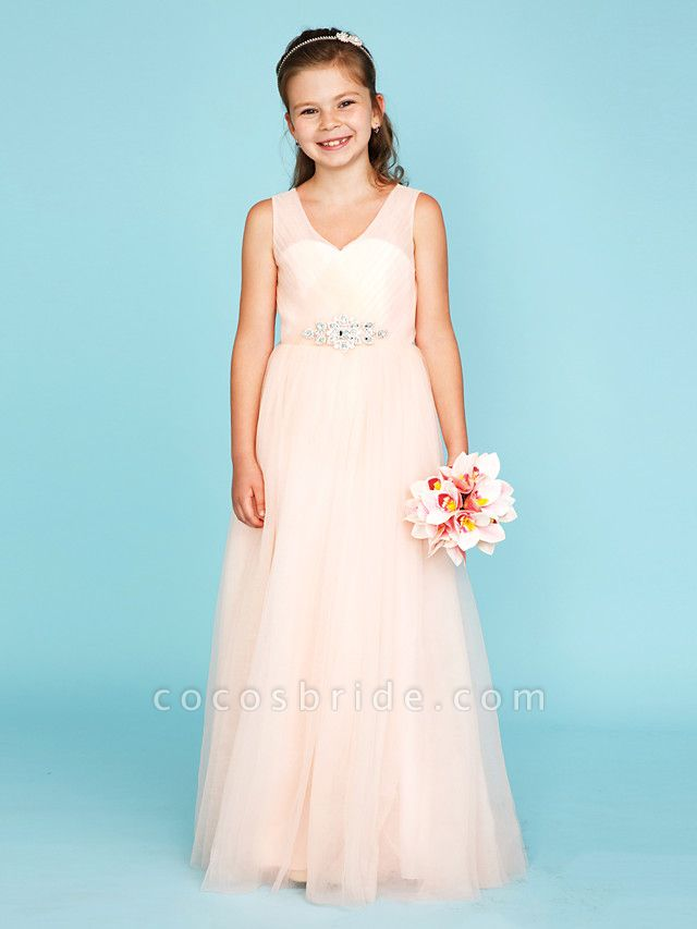 Princess / A-Line V Neck Floor Length Tulle Junior Bridesmaid Dress With Criss Cross / Crystals / Wedding Party