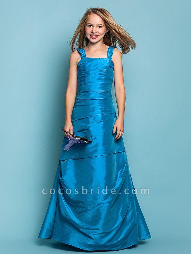 Princess / A-Line Straps Floor Length Taffeta Junior Bridesmaid Dress With Side Draping / Spring / Summer / Fall / Apple / Hourglass