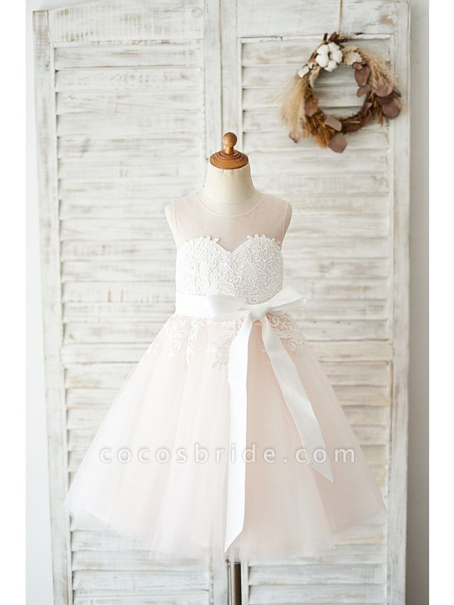Ball Gown Knee Length Wedding / Party Flower Girl Dresses - Lace / Tulle Sleeveless Jewel Neck With Belt