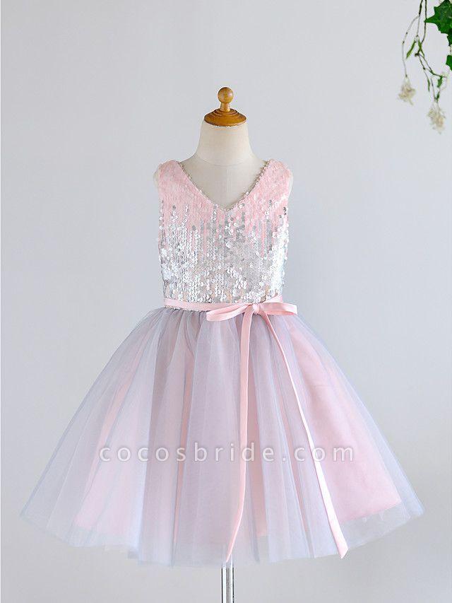 Ball Gown Knee Length Wedding / Birthday / Pageant Flower Girl Dresses - Tulle / Sequined Sleeveless V Neck With Belt