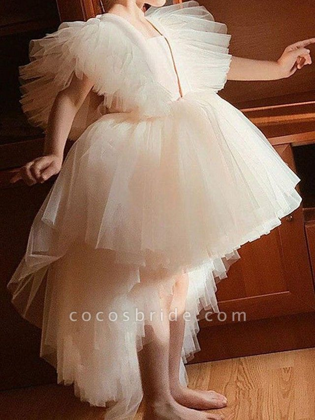 Princess / Ball Gown Knee Length Wedding / Party Flower Girl Dresses - Tulle Short Sleeve / Sleeveless V Neck With Tier / Appliques