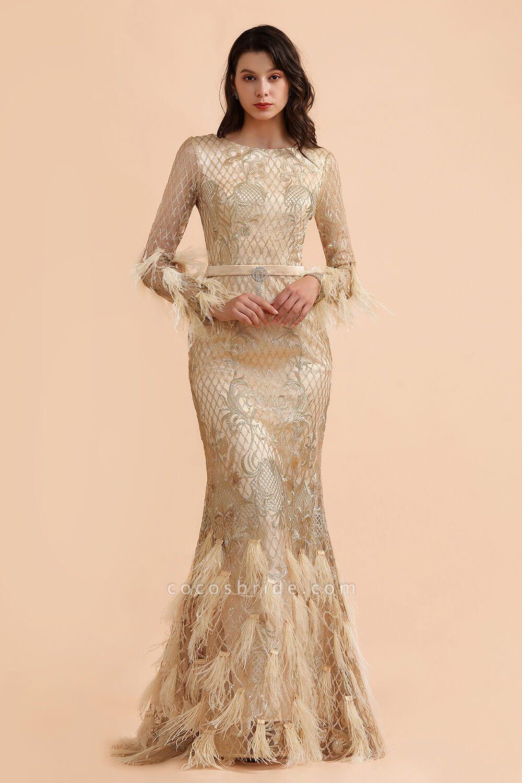 Champange Mermaid Long sleeves V-back Prom Dress