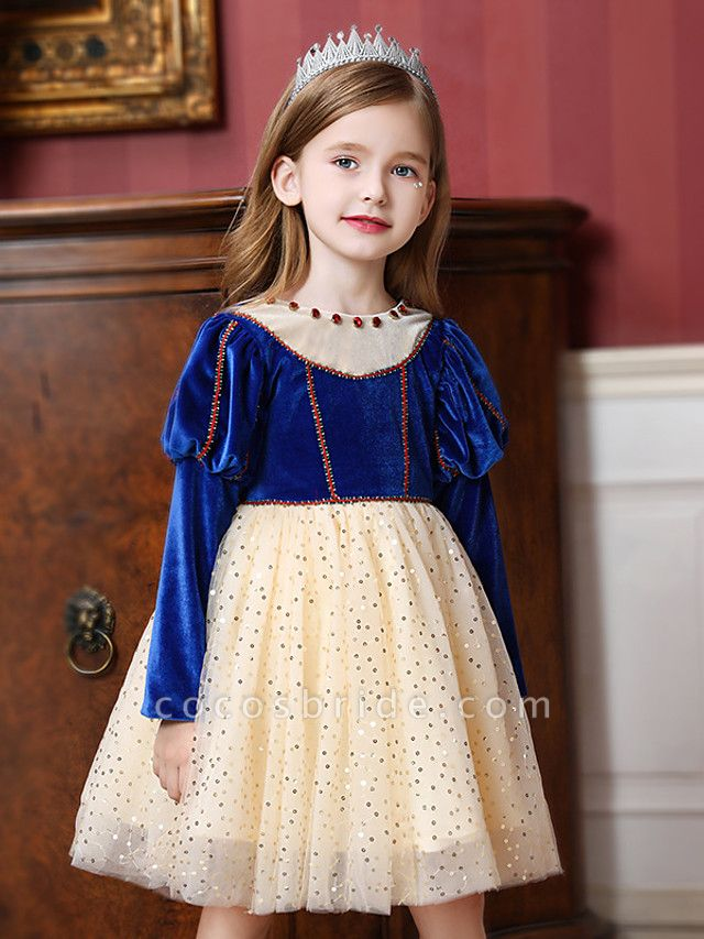 Princess / Ball Gown Knee Length Wedding / Party Flower Girl Dresses - Tulle / Velvet Long Sleeve Jewel Neck With Crystals / Paillette