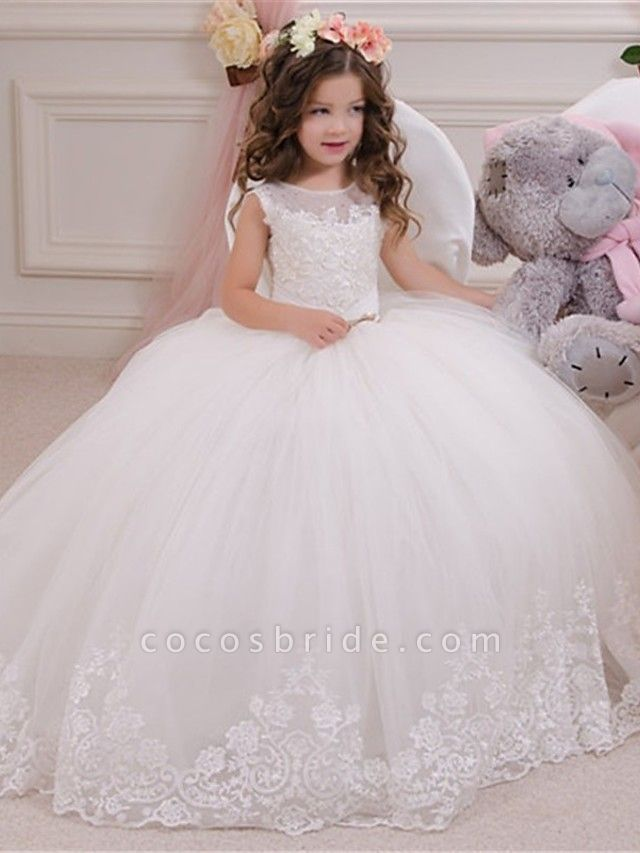Princess / Ball Gown Sweep / Brush Train Wedding / Party Flower Girl Dresses - Lace / Tulle Sleeveless Jewel Neck With Bow(S) / Appliques / Paillette