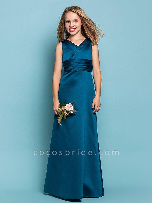 Sheath / Column V Neck Floor Length Satin Junior Bridesmaid Dress With Sash / Ribbon / Criss Cross / Ruched / Spring / Summer / Fall / Apple / Hourglass