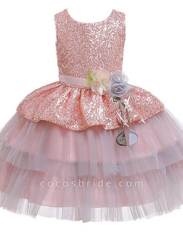 Ball Gown Floor Length Birthday / Formal Evening Flower Girl Dresses - Polyester Sleeveless Jewel Neck With Sash / Ribbon / Paillette
