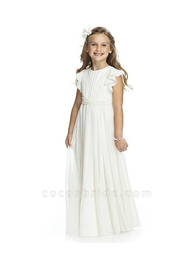 Sheath / Column Long Length Wedding / Birthday / Pageant Flower Girl Dresses - Chiffon Short Sleeve Jewel Neck With Cascading Ruffles / Ruching