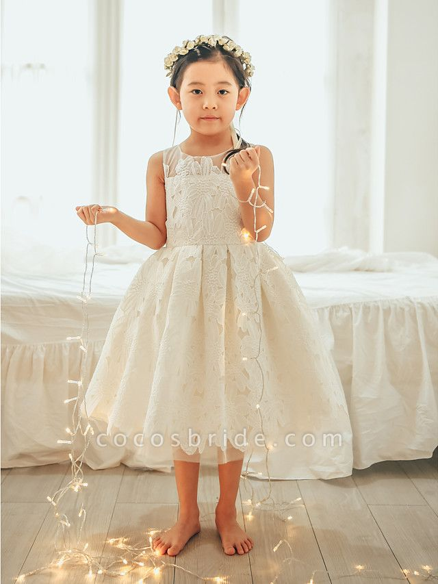 Ball Gown Tea Length Wedding / First Communion / Birthday Flower Girl Dresses - Lace / Tulle Sleeveless Jewel Neck With Lace
