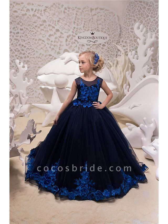 Princess / Ball Gown Sweep / Brush Train Wedding / Party Flower Girl Dresses - Tulle Sleeveless Jewel Neck With Appliques