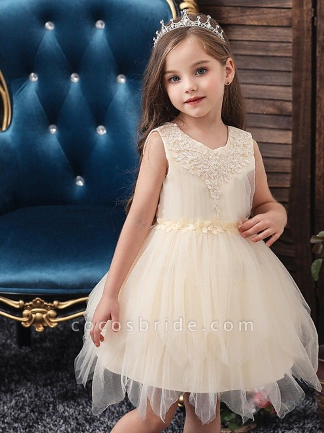 Princess / Ball Gown Short / Mini Wedding / Party Flower Girl Dresses - Tulle Sleeveless Jewel Neck With Sash / Ribbon / Appliques
