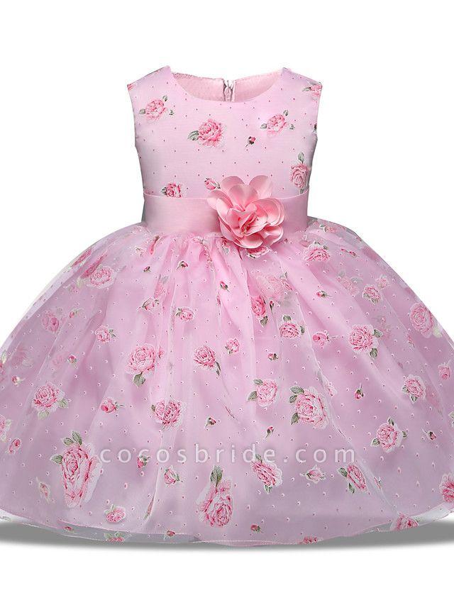 Princess Midi Wedding / Party Satin / Tulle Sleeveless Jewel Neck With Bow(S) / Tier / Pattern / Print