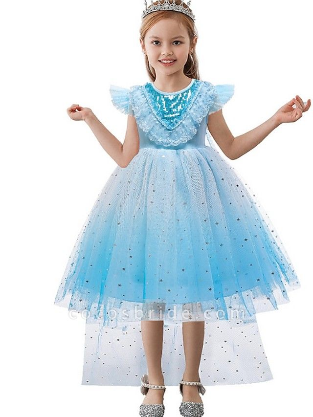 Princess / Ball Gown Knee Length Wedding / Party Flower Girl Dresses - Tulle Cap Sleeve Jewel Neck With Tier / Paillette