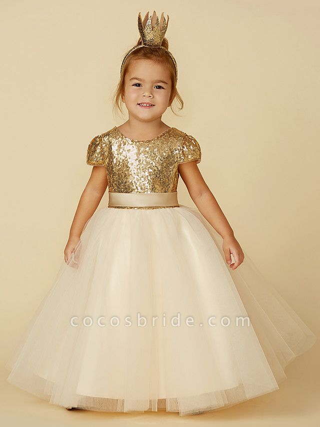 Princess Floor Length Wedding / Party / Pageant Flower Girl Dresses - Tulle / Sequined Short Sleeve Jewel Neck With Sash / Ribbon / Sequin