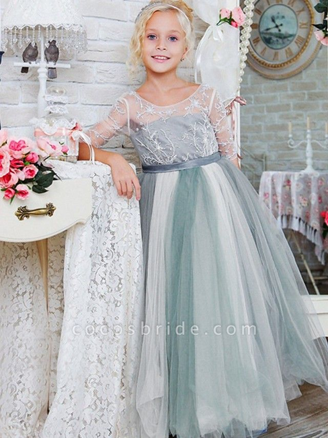 Princess / A-Line Floor Length Wedding / Party Flower Girl Dresses - Lace / Tulle Half Sleeve Jewel Neck With Bows / Paillette