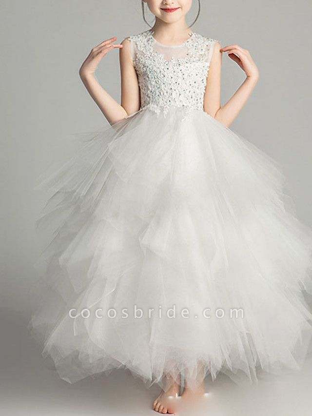 Ball Gown Floor Length First Communion Flower Girl Dresses - Chiffon Sleeveless Jewel Neck With Tier / Crystals / Rhinestones