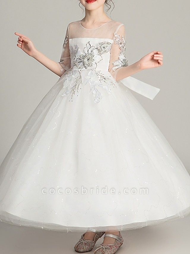 Ball Gown Ankle Length Pageant Flower Girl Dresses - Polyester Half Sleeve Jewel Neck With Bow(S)
