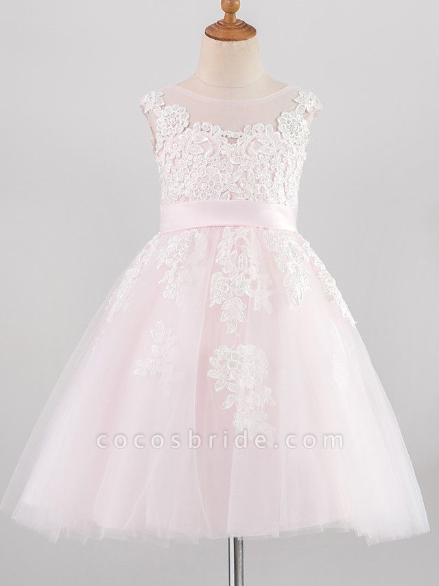 Princess Knee Length Wedding / Birthday / Pageant Flower Girl Dresses - Lace / Satin / Tulle Sleeveless Jewel Neck With Belt / Buttons / Appliques