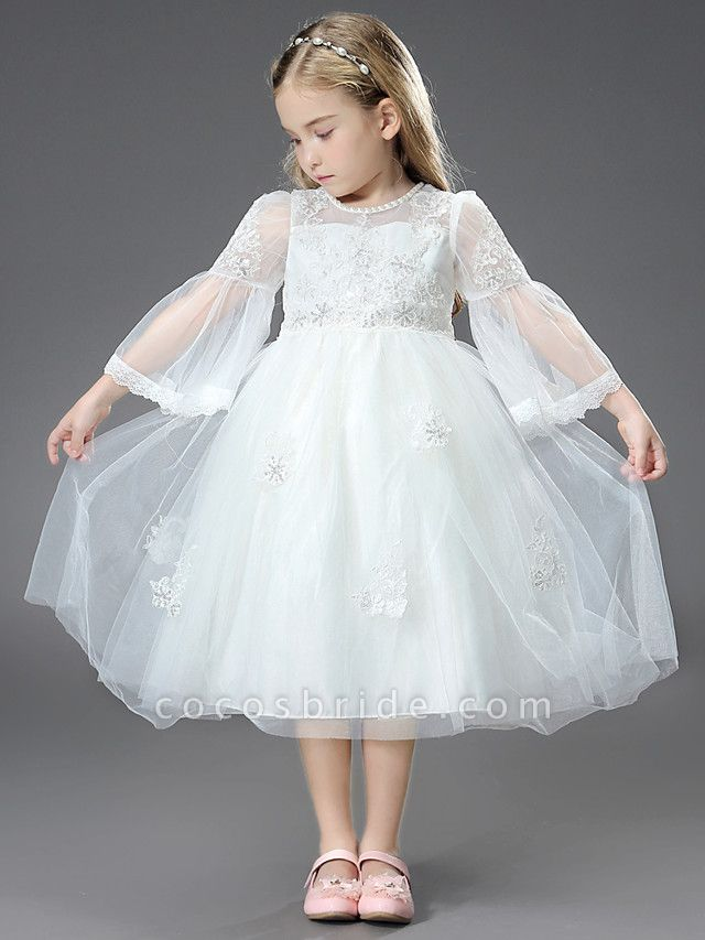 Princess / Ball Gown Ankle Length / Royal Length Train Wedding / First Communion Flower Girl Dresses - Tulle / Matte Satin Long Sleeve Jewel Neck With Beading / Appliques / Butterfly