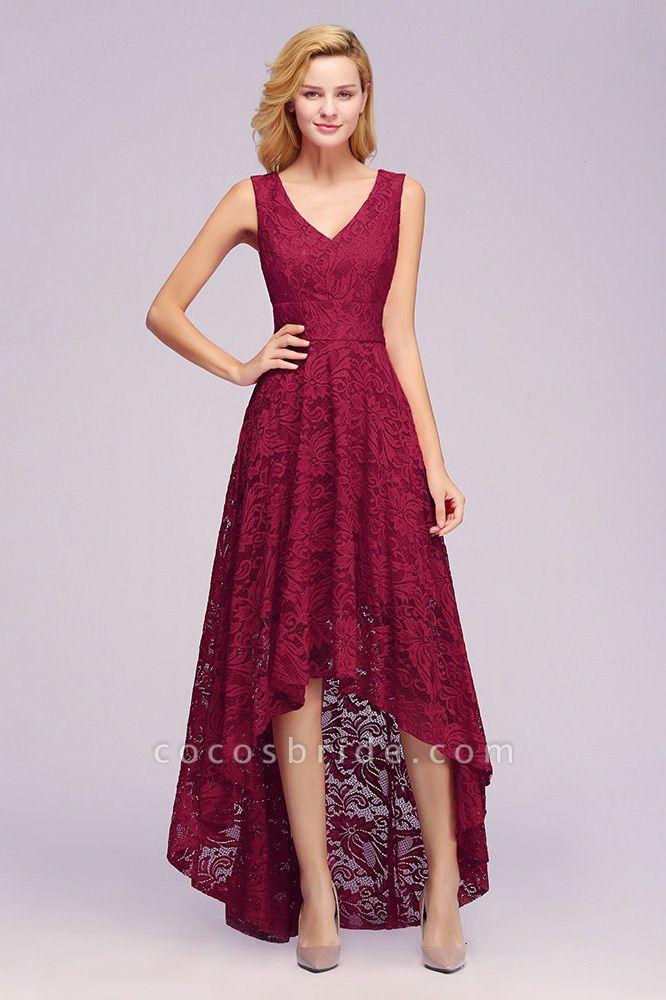 A-line V-neck Sleeveless Burgundy Hi-lo Lace Dresses