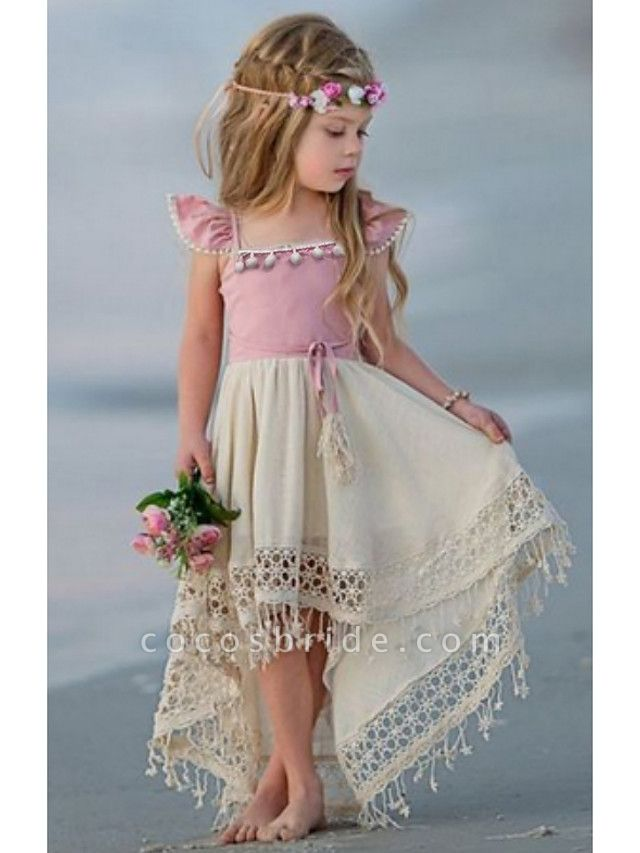 Ball Gown Floor Length Wedding / Party Flower Girl Dresses - Linen / Cotton Blend Short Sleeve Jewel Neck With Appliques