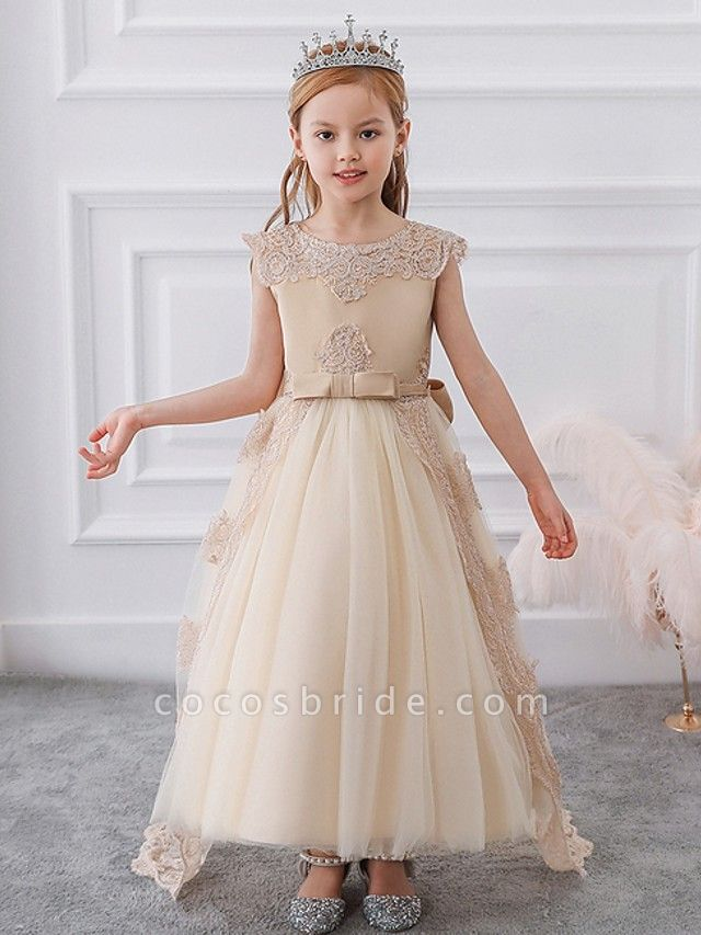 Princess / Ball Gown Sweep / Brush Train Wedding / Party Flower Girl Dresses - Satin / Tulle Sleeveless Jewel Neck With Sash / Ribbon / Bow(S) / Appliques