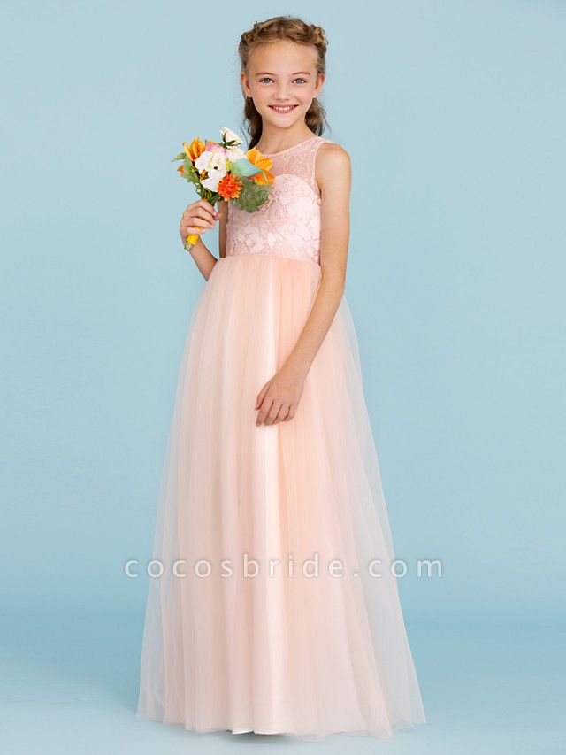 Princess / A-Line Crew Neck Floor Length Lace / Tulle Junior Bridesmaid Dress With Pleats / Wedding Party / See Through