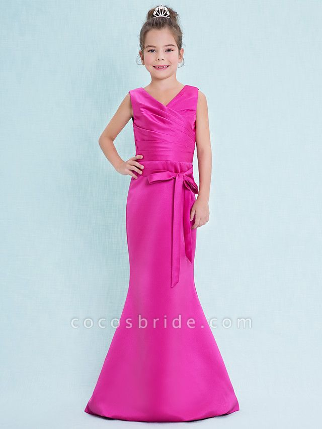 Mermaid / Trumpet V Neck Floor Length Satin Junior Bridesmaid Dress With Criss Cross / Natural