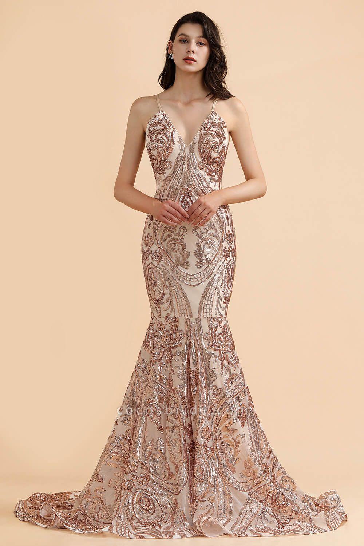 V-neck Sequins Sleeveless Mermaid Floor Length Prom Dresses