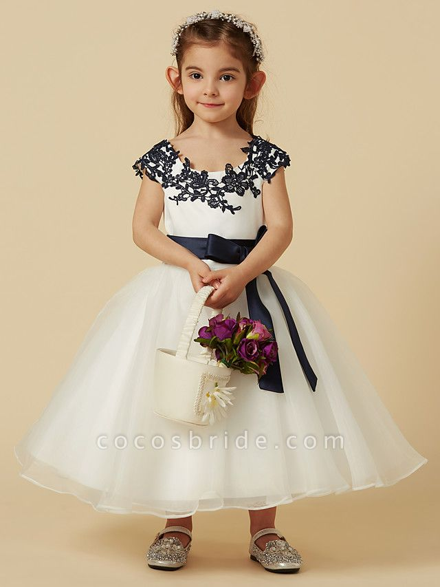 A-Line Knee Length Pageant Flower Girl Dresses - Lace / Tulle Short Sleeve Scoop Neck With Sash / Ribbon / Bow(S) / Buttons