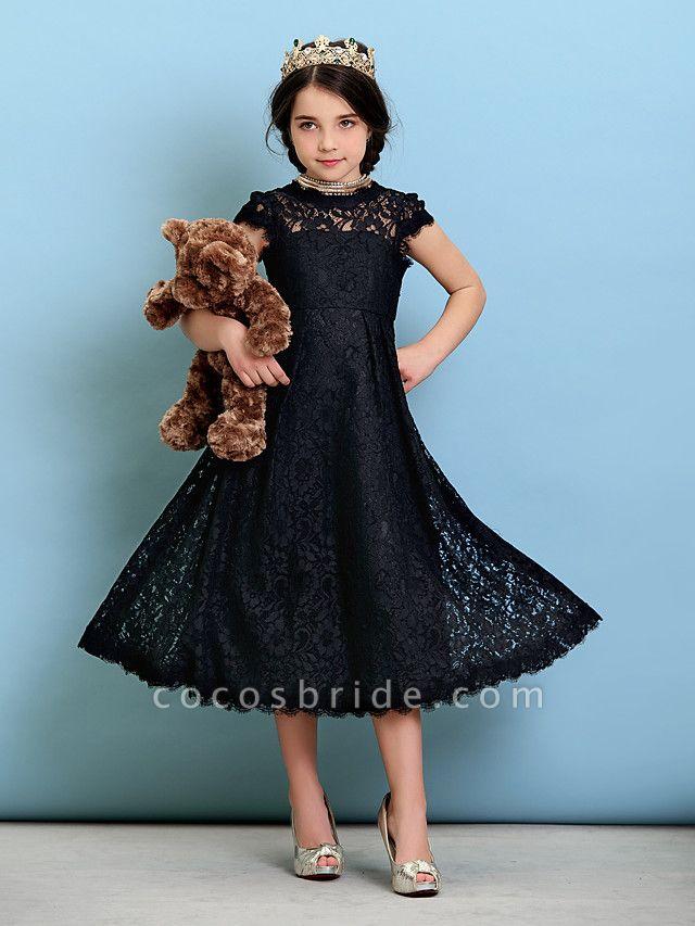 Princess / A-Line Jewel Neck Tea Length Lace Junior Bridesmaid Dress With Pleats / Natural