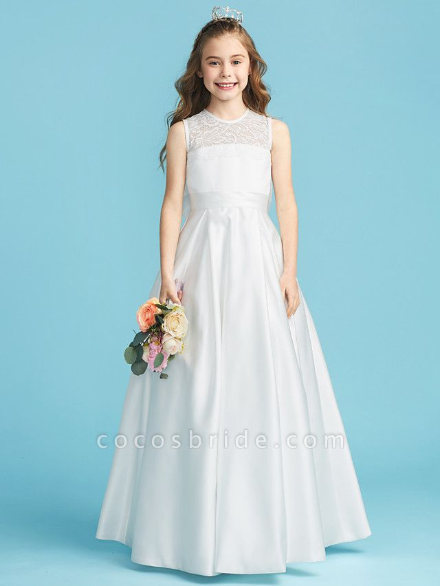 Princess / A-Line Jewel Neck Floor Length Lace / Satin Junior Bridesmaid Dress With Lace / Bow(S) / Pleats