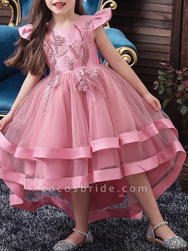 A-Line Asymmetrical Pageant Flower Girl Dresses - Tulle Sleeveless Jewel Neck With Bow(S) / Beading / Tier