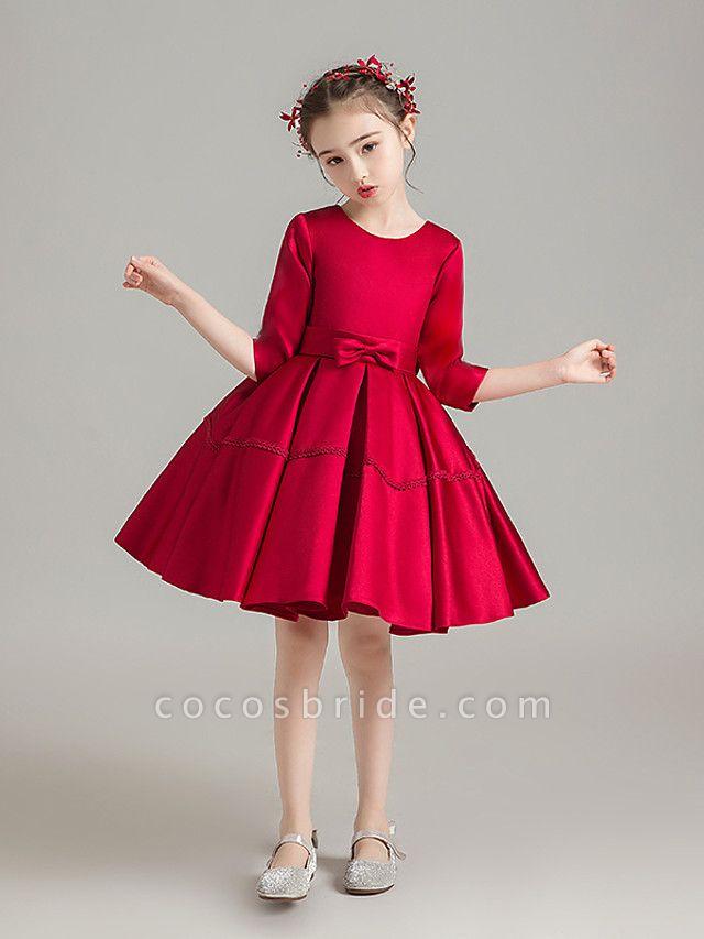 Princess Medium Length Christmas / Birthday Flower Girl Dresses - Satin Chiffon 3/4 Length Sleeve Jewel Neck With Solid