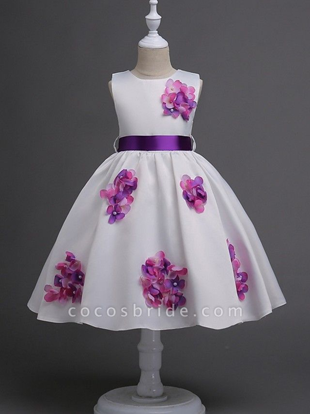 Princess / Ball Gown Knee Length Wedding / Party Flower Girl Dresses - Satin Sleeveless Jewel Neck With Sash / Ribbon / Bow(S) / Flower