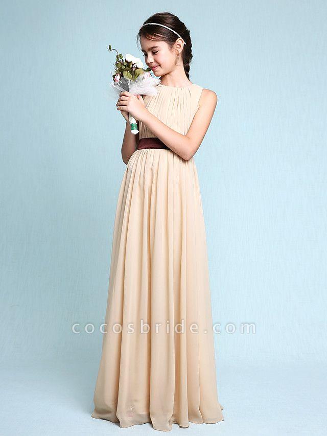 Sheath / Column Scoop Neck Floor Length Chiffon Junior Bridesmaid Dress With Draping / Natural