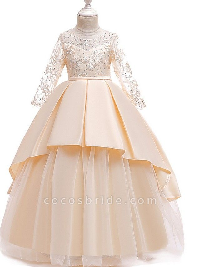 Princess Round Floor Length Cotton Junior Bridesmaid Dress With Bow(S) / Pleats / Crystals