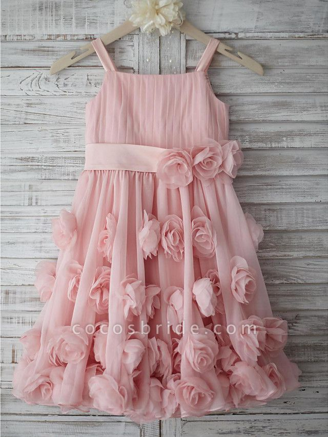 A-Line Knee Length Holiday Flower Girl Dresses - Chiffon Sleeveless Straps With Sash / Ribbon / Bow(S) / Draping