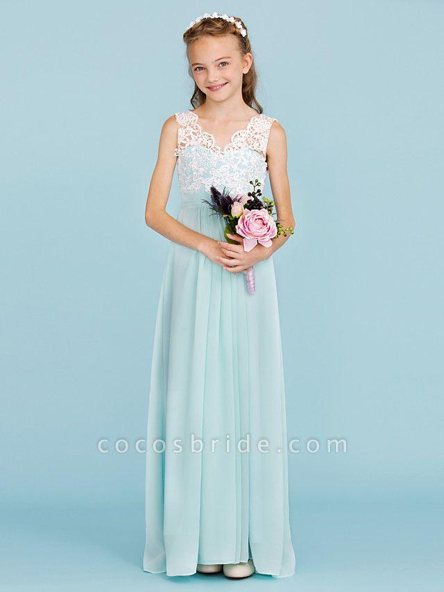 Sheath / Column V Neck Floor Length Chiffon / Lace Junior Bridesmaid Dress With Sash / Ribbon / Pleats / Color Block / Wedding Party / Open Back