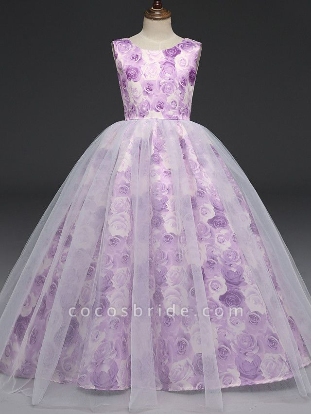 A-Line Floor Length Wedding / Party / Pageant Flower Girl Dresses - Tulle / Matte Satin Short Sleeve Jewel Neck With Bow(S)