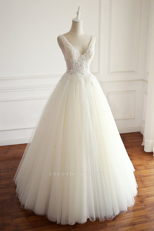 SD1964 V-neck Beads Backless Ball Gown Tulle Wedding Dress
