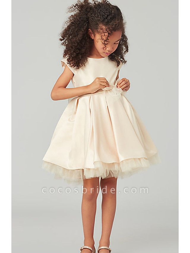 A-Line Knee Length Wedding Flower Girl Dresses - Satin / Tulle Cap Sleeve Jewel Neck With Bow(S) / Solid