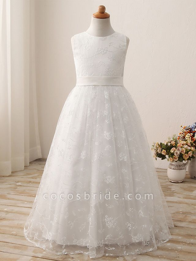 Ball Gown Long Length Wedding / First Communion / Birthday Flower Girl Dresses - Tulle / Cotton Sleeveless Jewel Neck With Embroidery / Solid